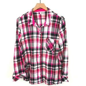 Victoria's Secret Plaid Button Up Pajama Top Large